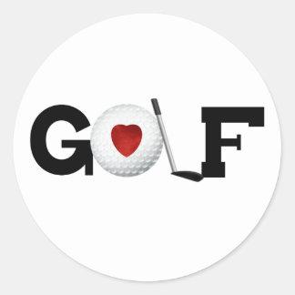 Golf con la pelota de golf pegatina redonda