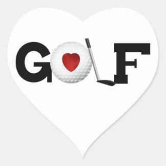 Golf con las camisetas y los regalos de la pelota pegatina en forma de corazón