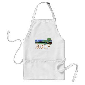 Golf con las camisetas y los regalos de los carros delantal
