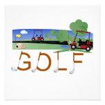 Golf con las camisetas y los regalos de los carros invitacion personalizada