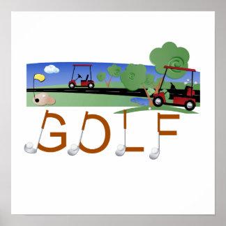 Golf con las camisetas y los regalos de los carros póster