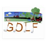 Golf con las camisetas y los regalos de los carros tarjetas postales