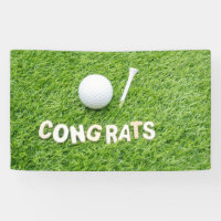 Golf Congratulations with golf ball on green Banner