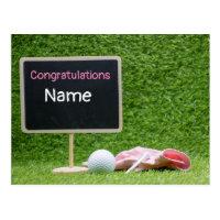 Golf Congratulations with pink glove and golf ball Postcard
