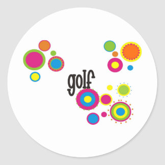 Golf Cool Polka Dots Classic Round Sticker