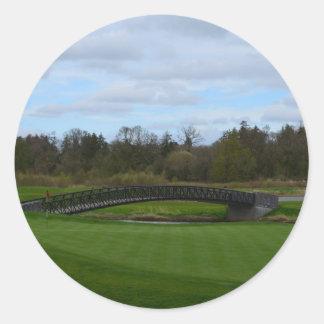 Golf Course Bridge Round Stickers