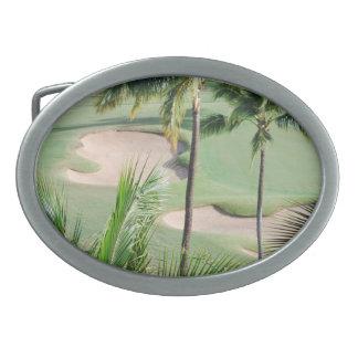 Golf Course in Tropics Buckle Oval Belt Buckle
