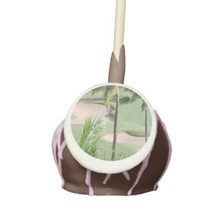 Golf Course in Tropics Cake Pops