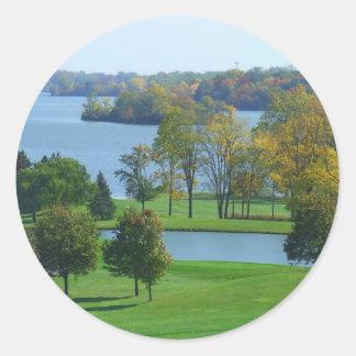 Golf Course on Lake Ypsilanti Michigan Classic Round Sticker