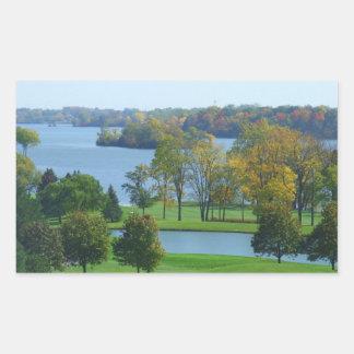 Golf Course on Lake Ypsilanti Michigan Rectangular Sticker