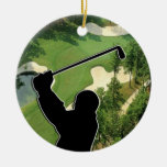 Golf Course Double-Sided Ceramic Round Christmas Ornament