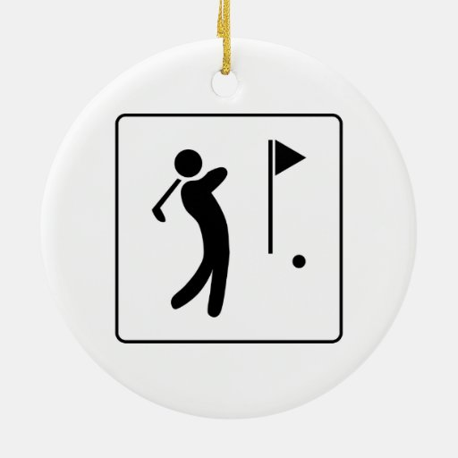 Golf Course Pictogram Double-Sided Ceramic Round Christmas Ornament