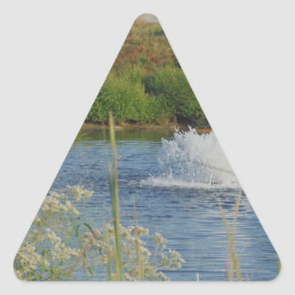 Golf Course pond and fountain Triangle Sticker