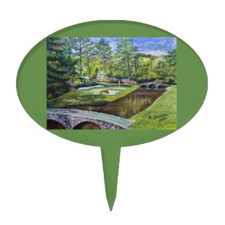 Golf course scene on a oval cakepick