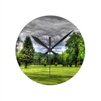 Golf Course Scene Round Clock
