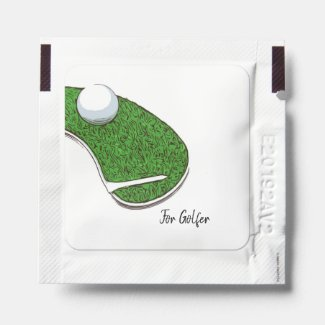 Golf course with golf ball and tee on white hand sanitizer packet