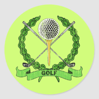 GOLF CREST - DISTRESSED CLASSIC ROUND STICKER