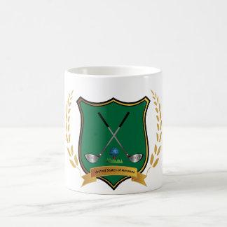 GOLF Crest with Laurel Wreath and Golf Clubs Coffee Mug