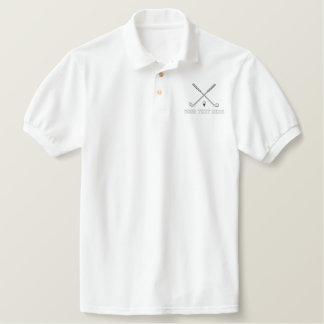 Golf crossed clubs - add your text - father's day polo