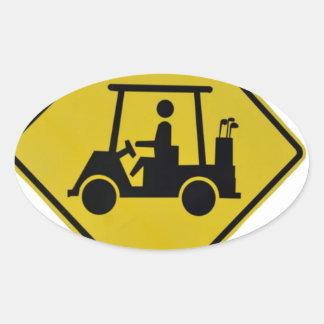 golf-crossing-sign oval sticker