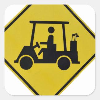 golf-crossing-sign square sticker