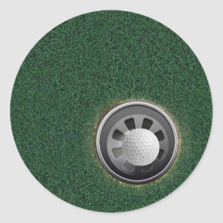 Golf Cup and Ball on the Greens Classic Round Sticker