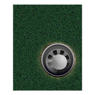 Golf Cup and Ball on the Greens Poster