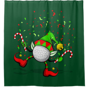 Golf Dancing Christmas Elf Shower Curtain