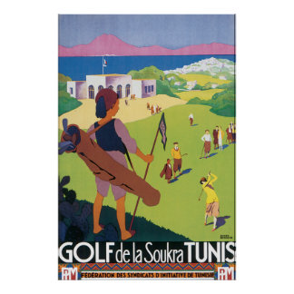 Golf de La Soukra Tunis Vintage Travel Poster