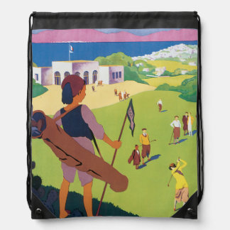 Golf de La Soukra Tunis Vintage Travel Poster Drawstring Bag