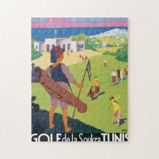 Golf de La Soukra Tunis Vintage Travel Poster Jigsaw Puzzle