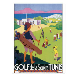 Golf de La Soukra Tunis Vintage Travel Poster Postcard