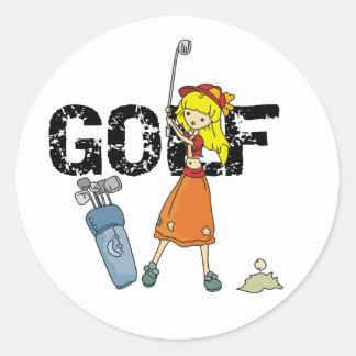 Golf de los chicas pegatina redonda