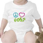 Golf del amor de la paz camisetas