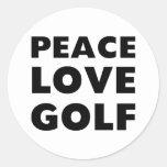 Golf del amor de la paz pegatina redonda