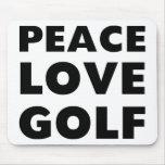Golf del amor de la paz tapete de ratón