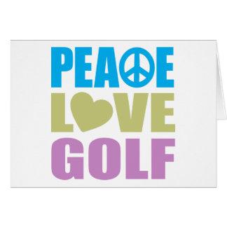 Golf del amor de la paz tarjeta