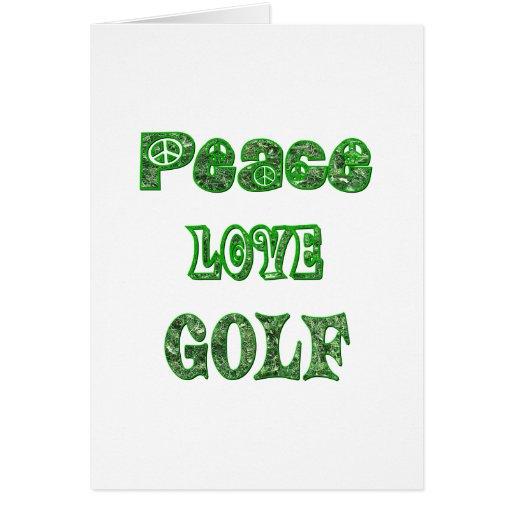Golf del amor de la paz tarjeta de felicitación