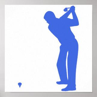 Golf del azul real y del blanco posters