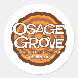 Golf del disco de la arboleda de Osage Pegatina Redonda