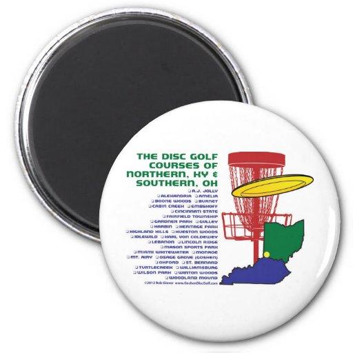 Golf del disco de Ohio Kentucky Imán Redondo 5 Cm