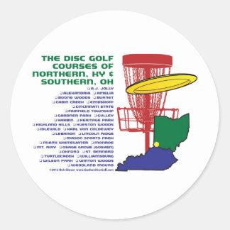 Golf del disco de Ohio Kentucky Pegatina Redonda