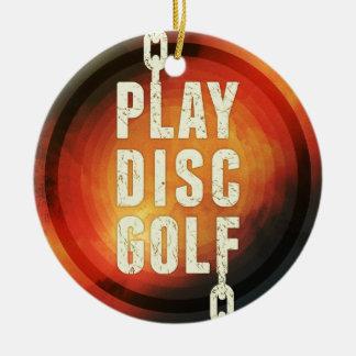 Golf del disco del juego adorno navideño redondo de cerámica