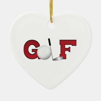 Golf del navidad adorno navideño de cerámica en forma de corazón