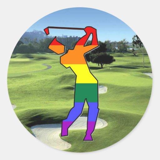 Golf del orgullo de GLBT Pegatina Redonda