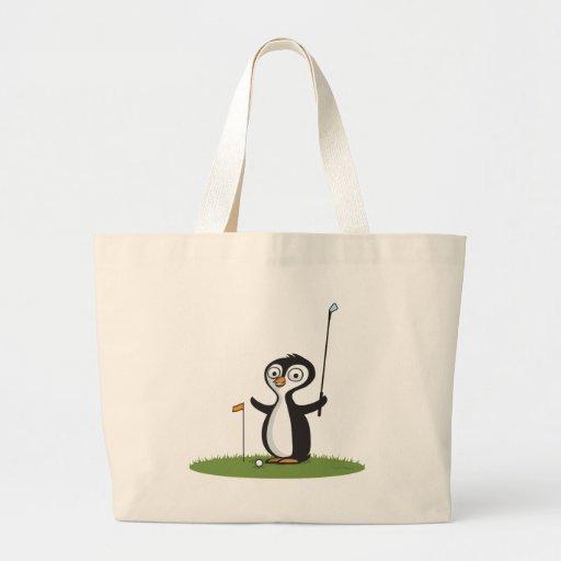 Golf del pingüino bolsa tela grande