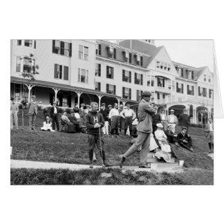Golf del vintage, 1890s tarjeta de felicitación