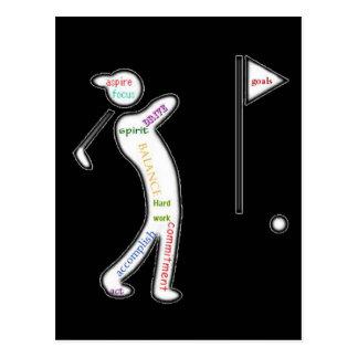 Golf, deporte, palabras de motivación postal