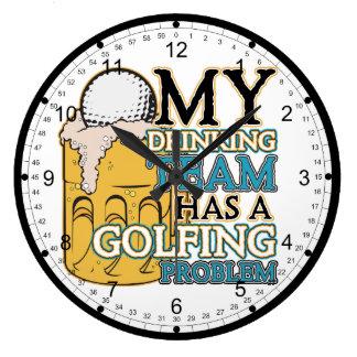 Golf Drinking Team Large Clock