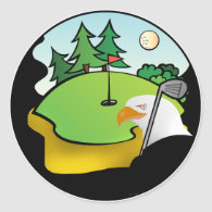 Golf Eagle Classic Round Sticker